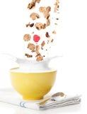 лить хлопий для завтрака Стоковое Фото