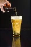 лить холода пива Стоковая Фотография