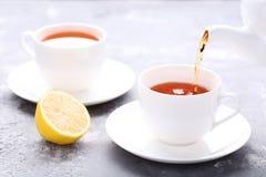 Лить чай от чайника стоковые изображения rf
