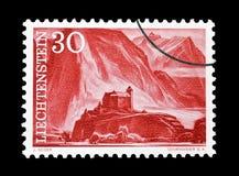 Лихтенштейн на печатях почтового сбора стоковое изображение rf