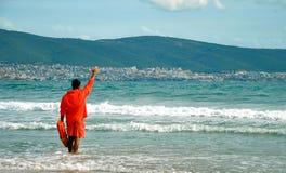 Личная охрана на пляже моря Стоковые Изображения RF