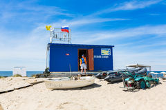 Личная охрана пляжа на работе Стоковое Фото