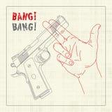 личное огнестрельное оружие руки скрещивания Бесплатная Иллюстрация