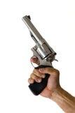 личное огнестрельное оружие 44 рук держало нержавеющую сталь большой винной бутылки Стоковая Фотография