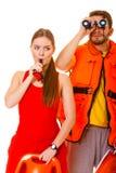 Личные охраны в спасательном жилете с свистеть томбуя кольца Стоковое фото RF