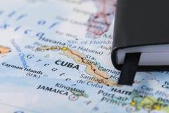 Личные примечания путешественника планируя отключение к Кубе Стоковая Фотография RF