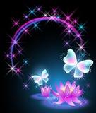 Лилии и бабочка бесплатная иллюстрация