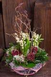 Лилия на долине в handmade оформлении корзины Стоковая Фотография RF
