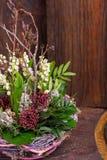 Лилия на долине в handmade оформлении корзины Стоковые Изображения