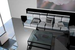 Лобби с большими окном и софой стоковое изображение