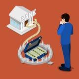 Ловушка банка Равновеликий кредит в банке Бизнесмен думая о кредите иллюстрация штока