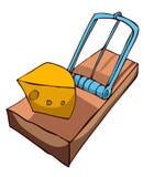 Ловушка мыши с сыром иллюстрация вектора