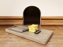 Ловушка мыши с частью сыра стоя перед отверстием мыши : иллюстрация штока
