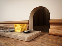 Ловушка мыши с частью сыра стоя перед отверстием мыши : бесплатная иллюстрация