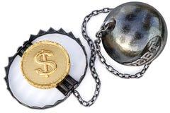 Ловушка с монетками на белой предпосылке Концепция дела и финансового риска стоковая фотография rf
