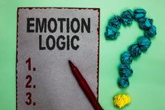 Логика эмоции сочинительства текста почерка Концепция знача серый цвет баланса запутанности сердца или души или разума мозга равн стоковые фотографии rf