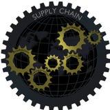Логистическая концепция сети шестерни схемы поставок с глобусом Стоковая Фотография RF