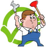 Логос водопроводчика шаржа Стоковые Фото