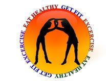 логос здоровья гимнастики пригодности клуба иллюстрация штока