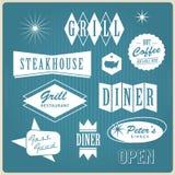 Логос, значки и ярлыки ресторана сбора винограда Стоковые Фотографии RF