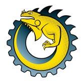 логос игуаны шестерни иллюстрация штока