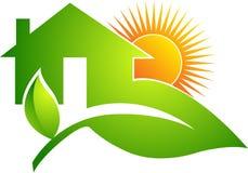 Логос листьев домашний Стоковое Изображение