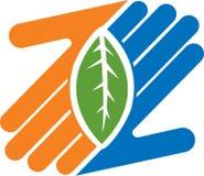Логос листьев руки иллюстрация штока