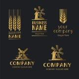 Логос хлеба на черной предпосылке Стоковые Фотографии RF