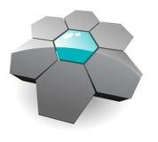 логос шестиугольников 3d Стоковая Фотография RF