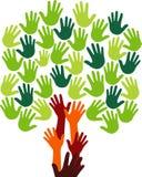 Логос дерева руки Стоковое Изображение