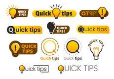 Логотипа подсказки быстро Желтый значок лампочки с текстом подсказки quicks Лампа комплекта знамени вектора идеи совета иллюстрация вектора