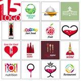 Логотипы вектора ресторанов и каф Стоковая Фотография