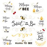 Логотипы дня матерей, значки, ярлыки, бирки Комплект нарисованный рукой с пчелой мамы значков меда пчелы сладостной бесплатная иллюстрация