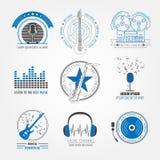 Логотипы и значки музыкальных инструментов Графический шаблон Стоковые Изображения RF