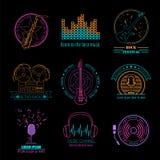 Логотипы и значки музыкальных инструментов Графический шаблон Стоковые Фотографии RF