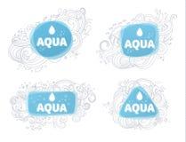 Логотипы и эмблемы Aqua иллюстрация штока