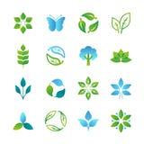 Логотипы и эмблемы вектора зеленые иллюстрация вектора