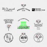 Логотипы и ярлыки значков сквоша для любых используют Стоковое фото RF