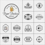 Логотипы и ярлыки значков фестиваля пива для любых используют Стоковое Изображение
