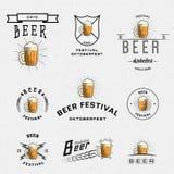 Логотипы и ярлыки значков фестиваля пива для любых используют иллюстрация штока