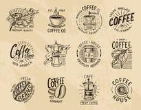 Логотипы кофе современные винтажные элементы для меню магазина также вектор иллюстрации притяжки corel собрание украшения дизайна иллюстрация вектора