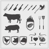 Логотипы мяса, ярлыки и элементы дизайна Силуэты животных иллюстрация вектора