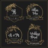 Логотипы свадьбы которые можно редактировать с линиями цветка иллюстрация вектора