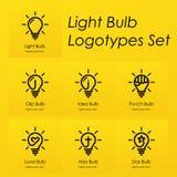Логотипы символа электрической лампочки установили с творческими идеями, звездой, крестом, пуншем, сердцем любов, идеей, символам иллюстрация штока