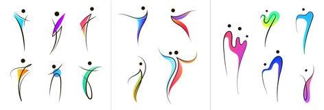 Логотипы человеческого тела вектора установленные, люди формируют, линейное красочное stylezid вычисляют Польза для фитнеса, здор иллюстрация штока
