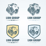Логотипы льва, значки, комплект вектора эмблем Стоковое Изображение RF