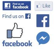 Логотипы Facebook и как векторы большого пальца руки Стоковое фото RF