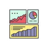 Логотип данных по аналитика сети и статистики вебсайта развития с визуализированием простых данных с диаграммами и диаграммой Стоковые Фотографии RF