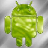 Логотип андроида металлический Стоковая Фотография