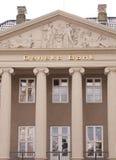 Логотип банка Danske на стене штабов Банк Danske самый большой банк в Дании и главный розничный банк в Северн Северном стоковое изображение